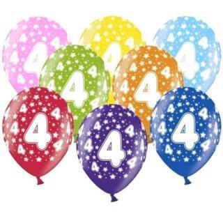 10 Bunte Ballons 4. Geburtstag mit Zahlen Hell-Blau