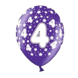 10 Bunte Ballons 4. Geburtstag mit Zahlen Lila
