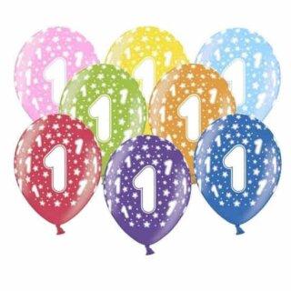 10 Bunte Ballons 1. Geburtstag mit Zahlen Gelb