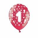 10 Bunte Ballons 1. Geburtstag mit Zahlen Rot