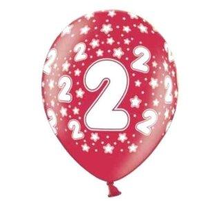 10 Bunte Ballons 2. Geburtstag mit Zahlen Rot