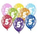 Bunte Ballons 5. Geburtstag mit Zahlen Gelb