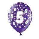 Bunte Ballons 5. Geburtstag mit Zahlen Lila