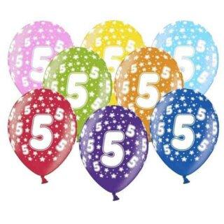 10 Bunte Ballons 5. Geburtstag mit Zahlen Rot
