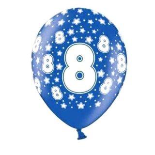 Bunte Ballons 8. Geburtstag mit Zahlen Dunkel-Blau
