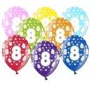 Bunte Ballons 8. Geburtstag mit Zahlen Hell-Blau