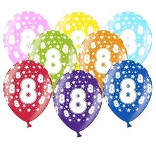 10 Bunte Ballons 8. Geburtstag mit Zahlen Gelb