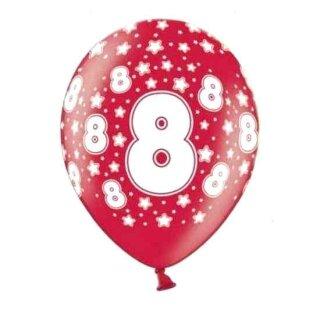 10 Bunte Ballons 8. Geburtstag mit Zahlen Rot