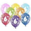 Bunte Ballons 6. Geburtstag mit Zahlen Orange