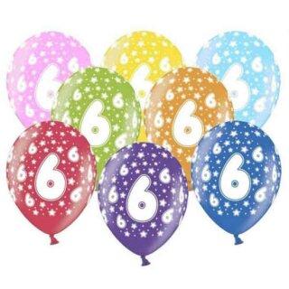 Bunte Ballons 6. Geburtstag mit Zahlen Hell-Blau
