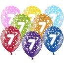 Bunte Ballons 7. Geburtstag mit Zahlen Gelb