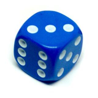 6-Seitiger Würfel Blau mit weißen Punkten 16mm