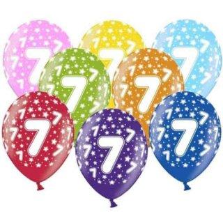 10 Bunte Ballons 7. Geburtstag mit Zahlen Gelb