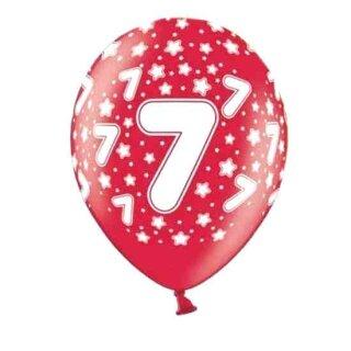 10 Bunte Ballons 7. Geburtstag mit Zahlen Rot
