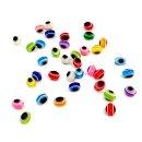 50 Göz Perlen Oval 6 x 8mm Transparent- Dunkel-Blau