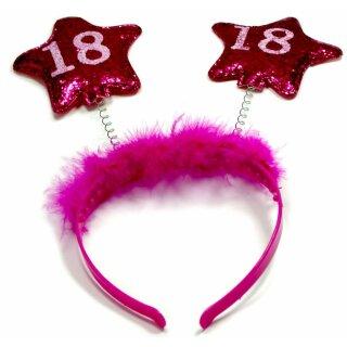 Haar-Reifen zum Geburtstag mit Sternen Pink 18 Jahre