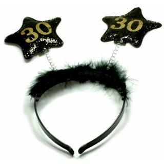 Haar-Reifen zum Geburtstag mit Sternen 30 Jahre Schwarz