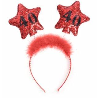 Haar-Reifen zum Geburtstag mit Roten Sternen 40 Jahre
