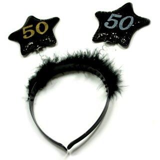 Haar-Reifen zum Geburtstag 50. mit Sternen in Schwarz