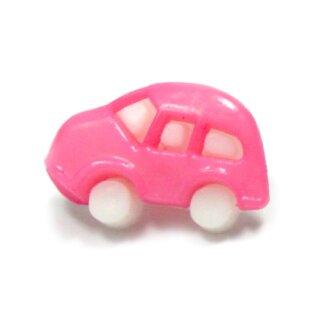 10 Auto Knöpfe in Weiß-Rosa 11 x 17mm