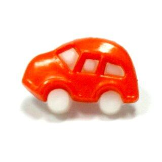10 Auto Knöpfe in Weiß-Orange 11 x 17mm