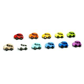 6 Auto Knöpfe in Schwarz-Bunt 16 x 24mm