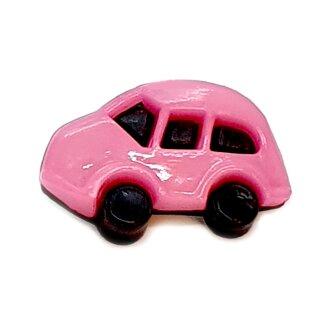 6 Auto Knöpfe in Schwarz-Rosa 16 x 24mm