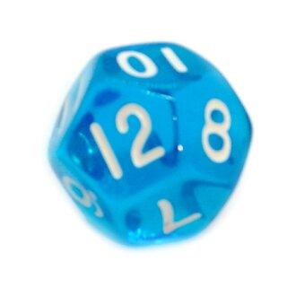 12-Seitige Würfel Transparent-Blau Zahlen 1-12