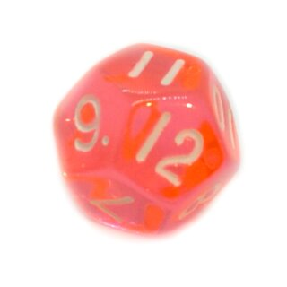 12-Seitige Würfel Transparent-Orange Zahlen 1-12