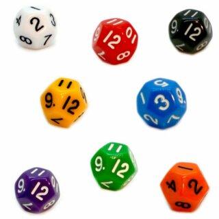 12-Seitige Würfel Bunt mit Zahlen 1-12