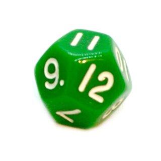 12-Seitige Würfel Grün mit Zahlen 1-12