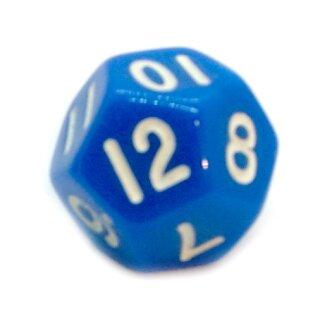 12-Seitige Würfel Blau mit Zahlen 1-12