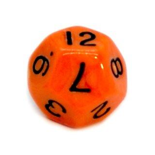 12-Seitige Würfel Orange mit schwarzen Zahlen 1-12