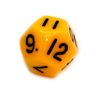12-Seitige Würfel Gelb mit Zahlen 1-12