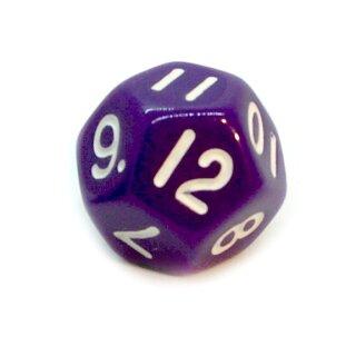 12-Seitige Würfel Lila mit Zahlen 1-12