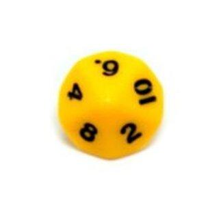 10-Seitige Würfel Hell-Orange mit Zahlen 1-10 W10