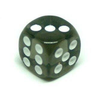 5 Transparent-Rauchgraue W6 Würfel 16mm mit Punkten