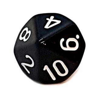 10-Seitige Würfel Schwarz mit Zahlen 1-10 W10