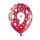 Rote Ballons 9. Geburtstag mit weißen Zahlen