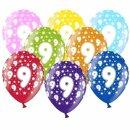 Hellblaue Ballons 9. Geburtstag mit weißen Zahlen