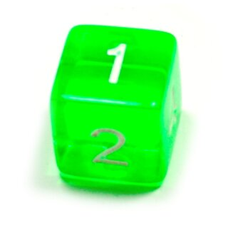 W6 Würfel Grün-Transparent Zahlen Gerade Kanten 15mm