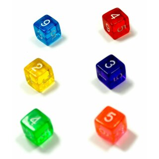 6er Set Würfel Transparent Farbmix BRGLGO Zahlen