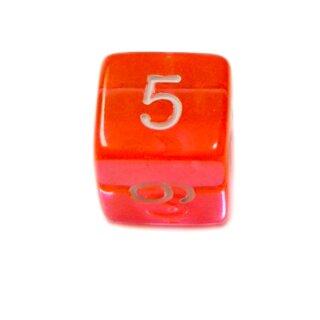 6 Würfel Orange-Transparent Zahlen Gerade Kanten 15mm