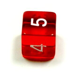 6 Würfel Rot-Transparent Zahlen Gerade Kanten 15mm