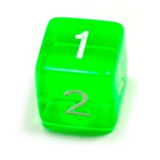 6 Würfel Grün-Transparent Zahlen Gerade Kanten 15mm