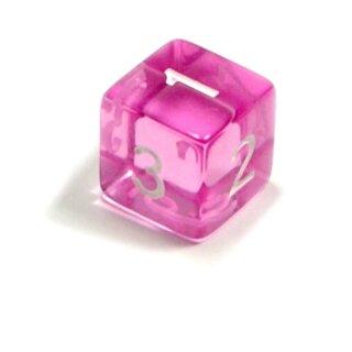 6 Würfel Rosa-Transparent Zahlen Gerade Kanten 15mm