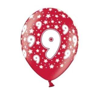 10 Bunte Ballons 9. Geburtstag Rot mit weißen Zahlen