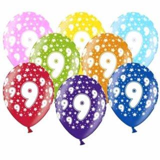 10 Bunte Ballons 9. Geburtstag Rosa mit weißen Zahlen