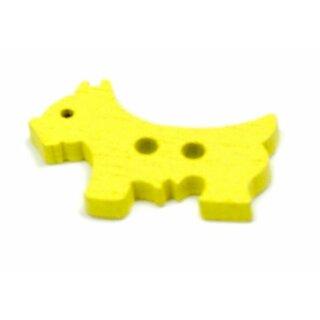 Hunde Holz-Knöpfe Gelb 26mm 2Loch