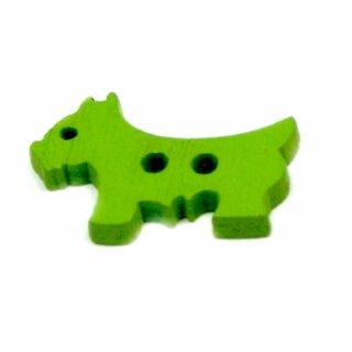 Hunde Holz-Knöpfe Grün 26mm 2Loch